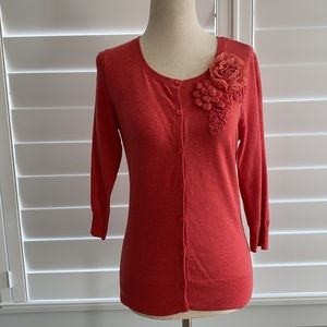 Caslon Coral color cardigan, XS with 3/4 sleeves